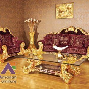 sofa tamu ukir mewah emas